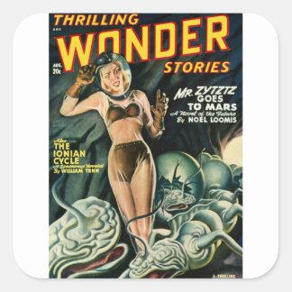 Adesivo Quadrado Spacegirl luta monstro do limo