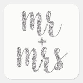 Adesivo Quadrado Sr. & Sra. de prata etiquetas, quadrado