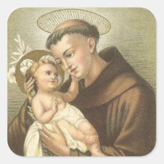 Adesivo Quadrado St Anthony de Pádua com bebê Jesus