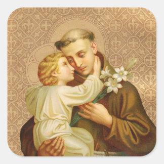 Adesivo Quadrado St Anthony do bebê Jesus de Pádua