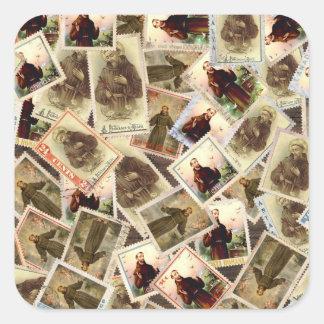 Adesivo Quadrado St Francis de selos postais de Assisi