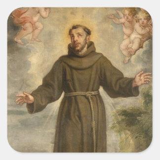 Adesivo Quadrado St Francis do santo padroeiro de Assisi dos