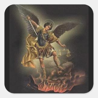 Adesivo Quadrado St Michael o diabo da armadura da espada do