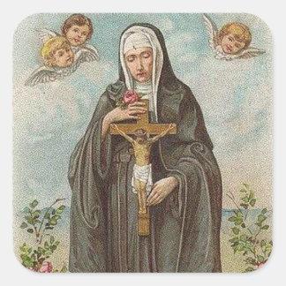 Adesivo Quadrado St. Rita de rosas dos anjos de Cascia w/crucifix