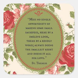 Adesivo Quadrado St. Therese as citações pequenas dos rosas da flor