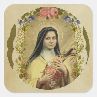 Adesivo Quadrado St. Therese da criança Jesus pouca flor