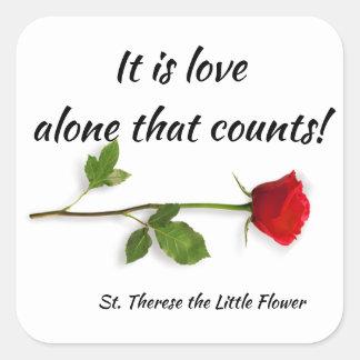 Adesivo Quadrado St. Therese da rosa vermelha de Jesus da criança