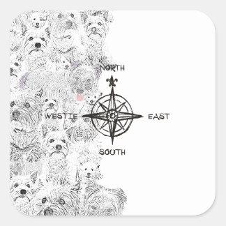 Adesivo Quadrado Sudeste norte & cão de Westie