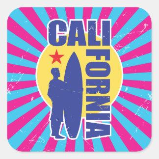 Adesivo Quadrado Sunburst do surfista de Califórnia do olhar do