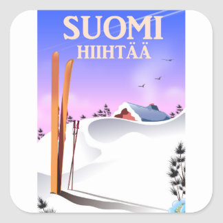 Adesivo Quadrado Suomi Hiihtää (Finlandia a esquiar)