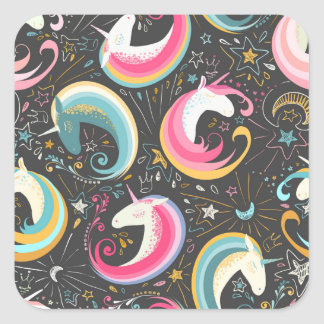 Adesivo Quadrado Sweet Magical Unicorn Print