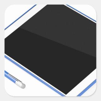 Adesivo Quadrado Tabuleta no suporte e na caneta digital