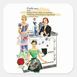 Adesivo Quadrado Tag do forno do vintage e do presente dos aventais