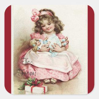 Adesivo Quadrado Tag do presente da menina