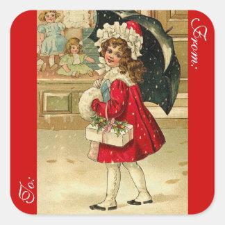 Adesivo Quadrado Tag do presente do Natal do Victorian