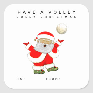 Adesivo Quadrado Tag do presente do Natal do voleibol