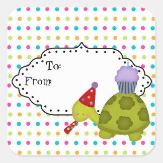 Adesivo Quadrado Tag do presente do partido da tartaruga dos