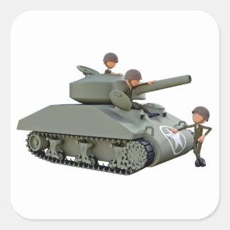 Adesivo Quadrado Tanque e soldados dos desenhos animados na
