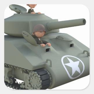 Adesivo Quadrado Tanque e soldados dos desenhos animados que vão