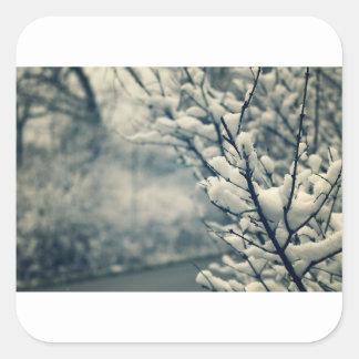 Adesivo Quadrado Tapete do rato nevado da árvore