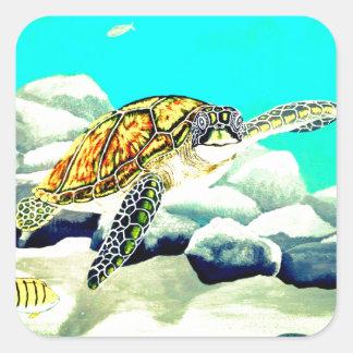 Adesivo Quadrado Tartaruga de mar que pinta o mar azul bonito