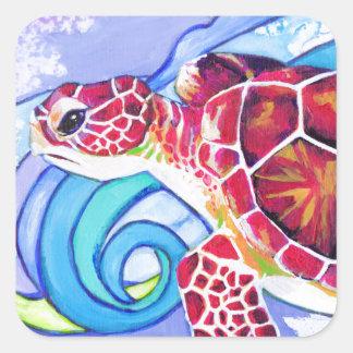 Adesivo Quadrado Tartaruga de Surfin
