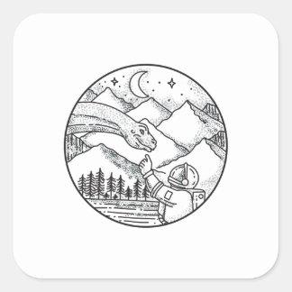 Adesivo Quadrado Tatuagem do círculo da montanha do astronauta do