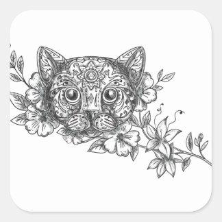Adesivo Quadrado Tatuagem principal da flor do jasmim do gato