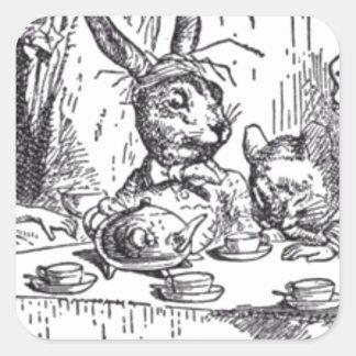Adesivo Quadrado Tea party louco do Hatter