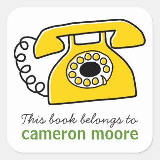 Adesivo Quadrado Telefone retro livro personalizado do bookplate