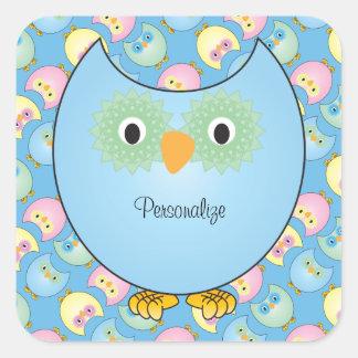 Adesivo Quadrado Tema azul Pastel do chá de fraldas da coruja