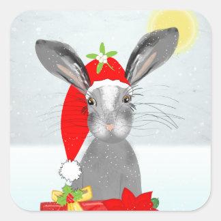 Adesivo Quadrado Tema bonito do feriado do Natal do coelho de