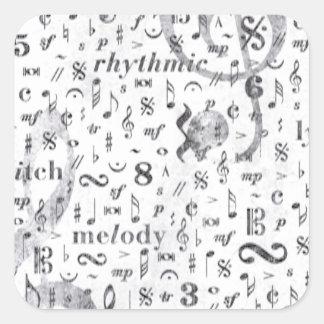 Adesivo Quadrado Tema da música do teste padrão da nota da música