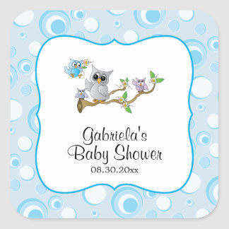 Adesivo Quadrado Tema do chá de fraldas da coruja do bebê azul