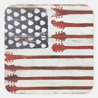 Adesivo Quadrado Tema patriótico da música da guitarra da bandeira