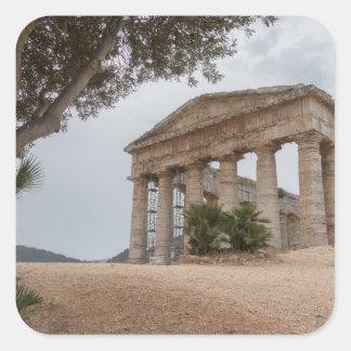 Adesivo Quadrado Templo grego em Segesta, Sicília