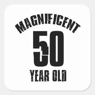 Adesivo Quadrado TENDENDO o DESIGN do ANIVERSÁRIO das pessoas de 50