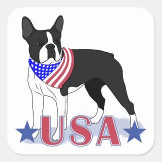 Adesivo Quadrado Terrier de Boston: Boston Terrier EUA patrióticos