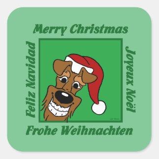 Adesivo Quadrado Terrier irlandesa Weihnacht
