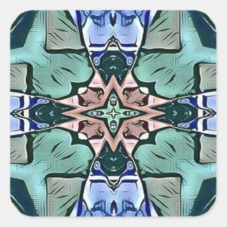 Adesivo Quadrado Teste padrão artístico do pêssego moderno do Lilac