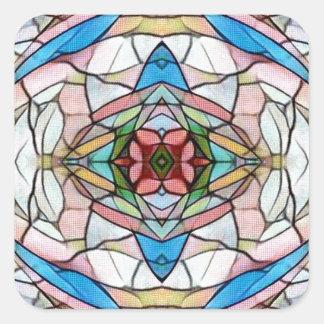 Adesivo Quadrado Teste padrão artístico raro bonito do vitral