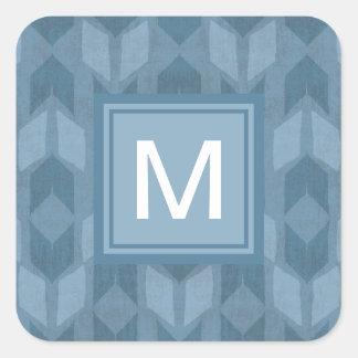 Adesivo Quadrado Teste padrão azul exterior da seta de etapa | de