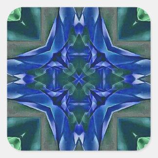 Adesivo Quadrado Teste padrão bonito da forma da cruz dos azuis