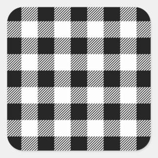 Adesivo Quadrado Teste padrão clássico B&W da xadrez da verificação