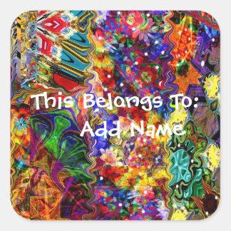 Adesivo Quadrado Teste padrão colorido da arte abstracta
