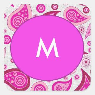 Adesivo Quadrado Teste padrão cor-de-rosa e do lilac de paisley