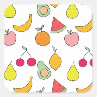 Adesivo Quadrado teste padrão da fruta