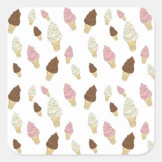 Adesivo Quadrado Teste padrão do cone do sorvete
