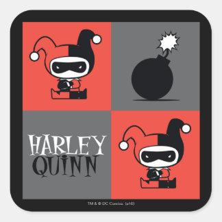 Adesivo Quadrado Teste padrão do verificador de Chibi Harley Quinn