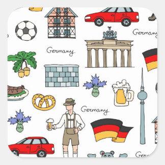 Adesivo Quadrado Teste padrão dos símbolos de Alemanha  